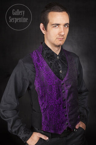 Purple Silk Brocade Victorian Vest