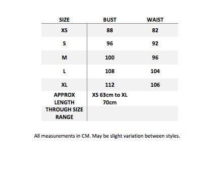 size guide for steampunk cog corset tshirt