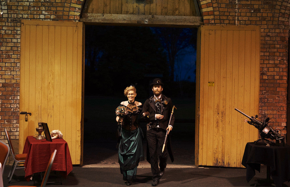 steampunk bridal party couple entering reception