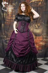 model showing the matching under bust victorian corset that goes with the Burgundy Beauty skirt set