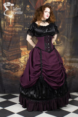 model showing the matching under bust victorian corset that goes with the Burgundy Beauty skirt set and boned petticoat