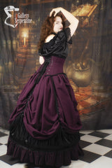 romantic burgundy beauty victorian skirt with boned petticoat underneath it