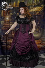 Burgundy Beauty Full Victorian Gown ensemble with top hat