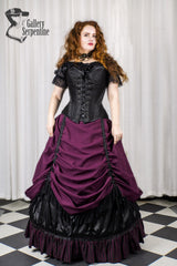 model wearing the new Turn of the Century steel boned corset with a neo victorian skirt set in burgundy