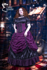 model wearing the full victorian corset gown called Burgundy Beauty including the black satin Alice in Wonderland Chemise