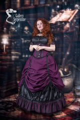 victorian cosplayer gown shown in a Hogwarts setting