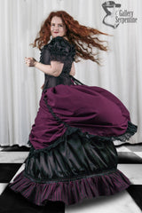 burgundy beauty skirt set in flowing action on a red headed model