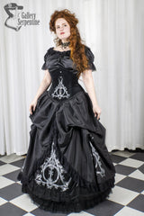 Deathly Hallows Harry Potter fandom gown based on victorian silhouette and tight lacing under bust corset for cosplay and birthdays