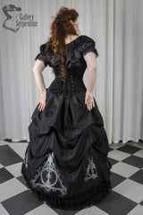 full back view of the Black taffeta and black velvet Deathly Hallows Harry Potter fandom gown based on victorian silhouette and tight lacing under bust corset for cosplay and birthdays