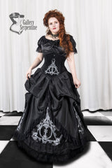 hand screen printed unique design in the Black taffeta and black velvet Deathly Hallows Harry Potter fandom gown based on victorian silhouette and tight lacing under bust corset for cosplay and birthdays