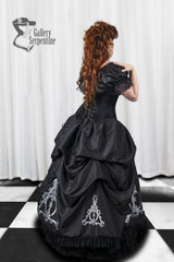side back view of the Deathly Hallows under bust corset worn with the full gown for Harry Potter fandom cosplayers