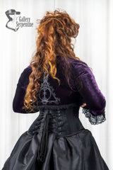 back view of the purple stretch velvet Bolero shrug as part of the Deathly Deathly Hallows victorian fantasy gown