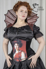 front view of the new pre raphaelite digitally printed under bust corset made to measure