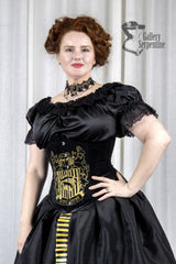 model in the corset as part of the Hufflepuff victorian corset gown for fantasy cosplay costumes