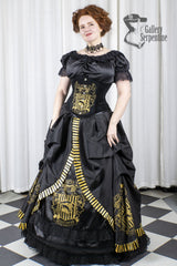 full front view of the Hufflepuff victorian corset gown for fantasy cosplay costumes