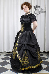 side view of the Hufflepuff victorian cosplay skirt with hoop underneath in black with gold printing