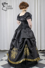 side back view of the Hufflepuff victorian corset gown for fantasy cosplay costumes