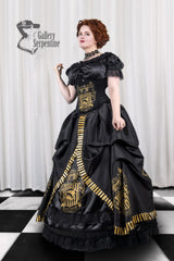 gold and black screen printing on the Hufflepuff victorian corset gown for fantasy cosplay costumes