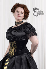 tightlacing black velvet corset is part of the Hufflepuff victorian corset gown for fantasy cosplay costumes