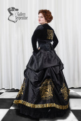 side back view of the model wearing the Hufflepuff victorian corset gown for fantasy cosplay costumes