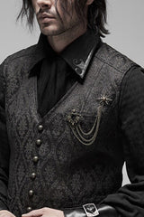 male gothic model wearing black shirt, grey green baroque vest with bronzed Baroque Brooch on left hand breast pocket