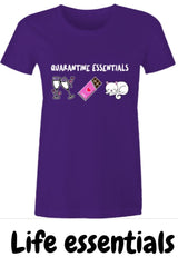 Quarantine Essentials for Women, funny meme tshirt featuring wine, chocolate and a cat on purple  cotton