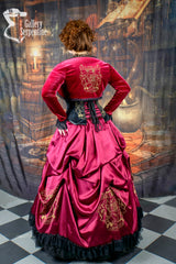 model wearing the full Gryffindor victorian fantasy cosplay gown