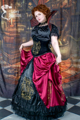 model wearing the black velvet steel boned corset with the Gryffindor victorian cosplay corset gown