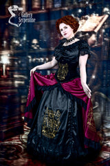 model showing overskirt and petticoat features of the Gryffindor victorian cosplay corset gown