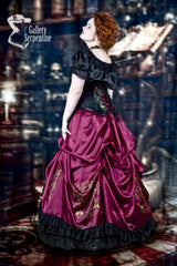 side view of the Gryffindor victorian cosplay corset gown for mature women