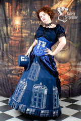 close up of the hoop skirt worn by pre raphaelite model in this blue victorian cosplay costume for Dr Who Tardis fans made in Australia
