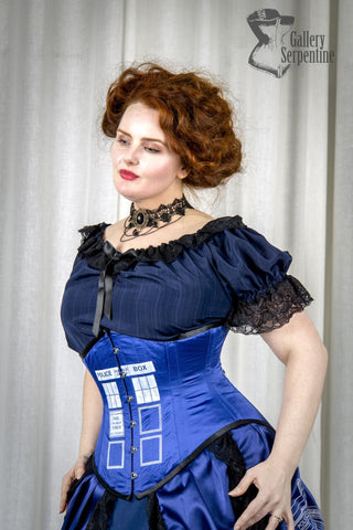 Tight Laced Tardis - Dr Who Inspired Tardis Blue Underbust Corset