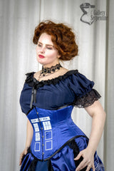Dr Who inspired steel boned australian made Tardis corset for cosplay