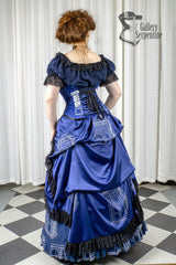 back view showing the gown underneath the Dr Who inspired steel boned australian made Tardis corset for cosplay