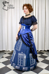 Tardis themed victorian fantasy cosplay gown in blue featuring a steel boned Tardis printed corset