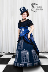 worn by pre raphaelite model in this blue victorian cosplay costume includes a steel boned tight lacing corset for Dr Who Tardis fans made in Australia