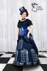 worn by pre raphaelite model in this blue victorian cosplay costume made to measure for Dr Who Tardis fans made in Australia