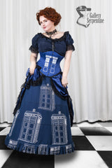 full length view of the Dr Who inspired steel boned australian made Tardis corset for cosplay