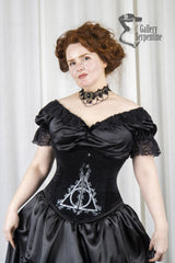 Deathly Hallows high quality cosplay corset, steel boned, black velvet, made in Australia