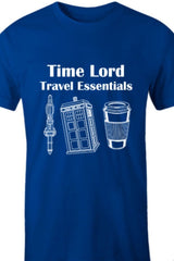 Time Lord's Travel Essentials t-shirt featuring 3 essential items printed in white on blue polycotton t-shirt for men