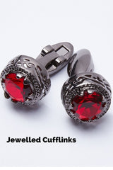baroque style large red jewelled cufflinks for gothic steampunk or men's formal shirts