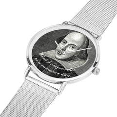 shakespeare printed digital watch high quality comes in 3 sizes and 3 colours, silver is shown with the bank laid out flat