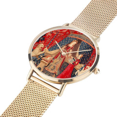 the Lady and the Unicorn tapestry artwork now on a quality citizen movement watch in gold