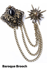 Baroque bronzed 2 piece brooch for male vests or female clothing