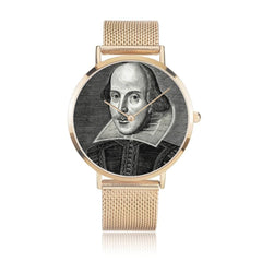 front on view of the Shakespeare digital printed 8mm thick stainless steel watch, water resistant in rose gold