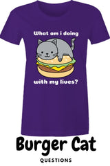funny cute cat meme existential crisis burger cat t-shirt on purple with burger cat written underneath