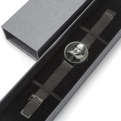 gift boxed view of the Shakespeare digital printed 8mm thick stainless steel watch, water resistant in black