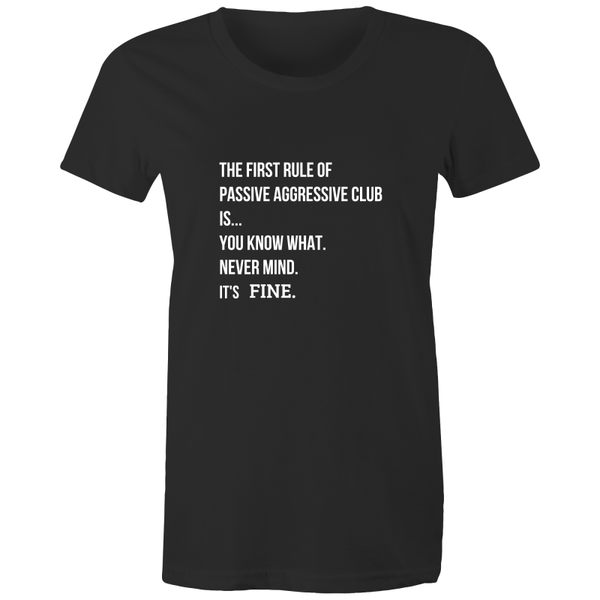 funny meme t-shirt based on Fight Club quote printed and made in Australia, black cotton, white print