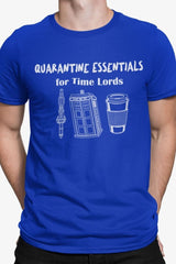 funny dr who meme t-shirt featuring a sonic screwdriver police box and coffee on blue cotton