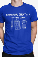 showing the blue sleeve on the funny dr who meme t-shirt featuring a sonic screwdriver police box and coffee